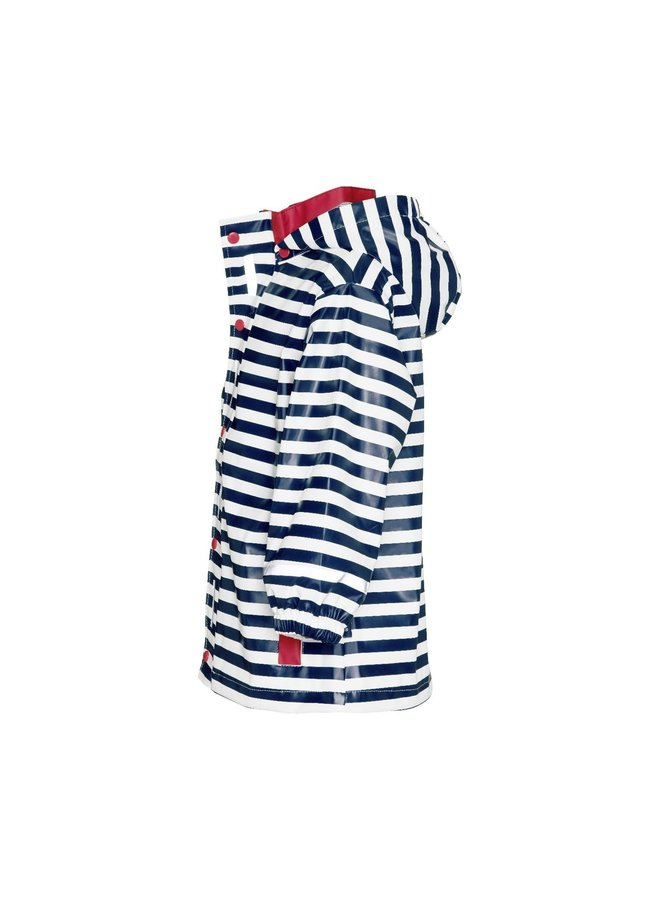 Kinderregenjas blauw wit gestreept met rode accenten| maat 80-110