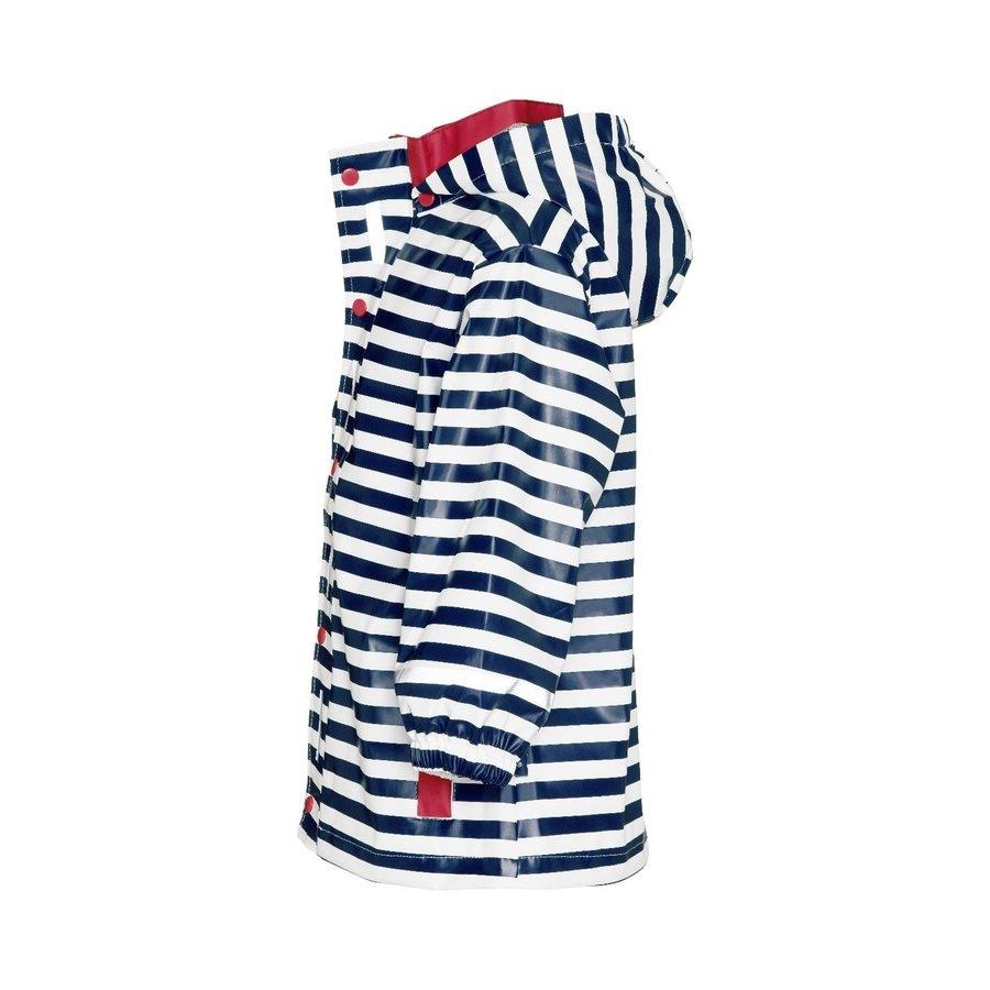 Kinderregenjas blauw wit gestreept met rode accenten| maat 80-110-2