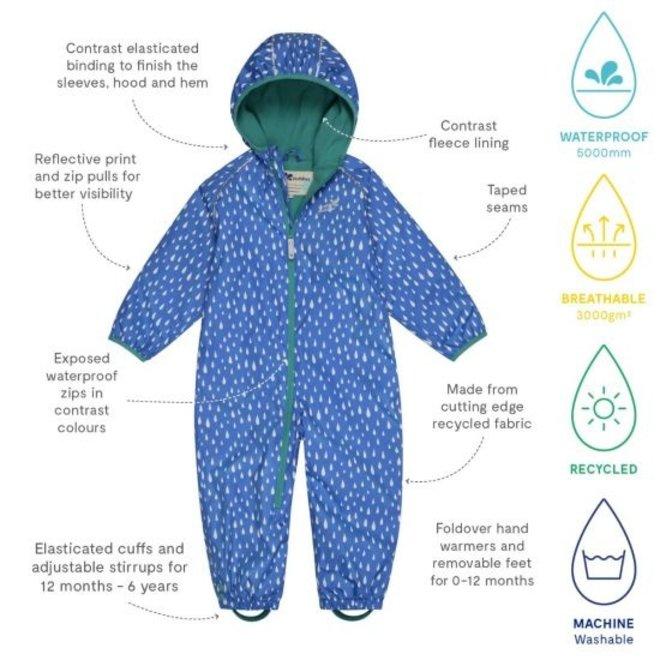 Duurzaam regenpak ECOSPLASH,  Raindrop| 0-6 jaar| blauw