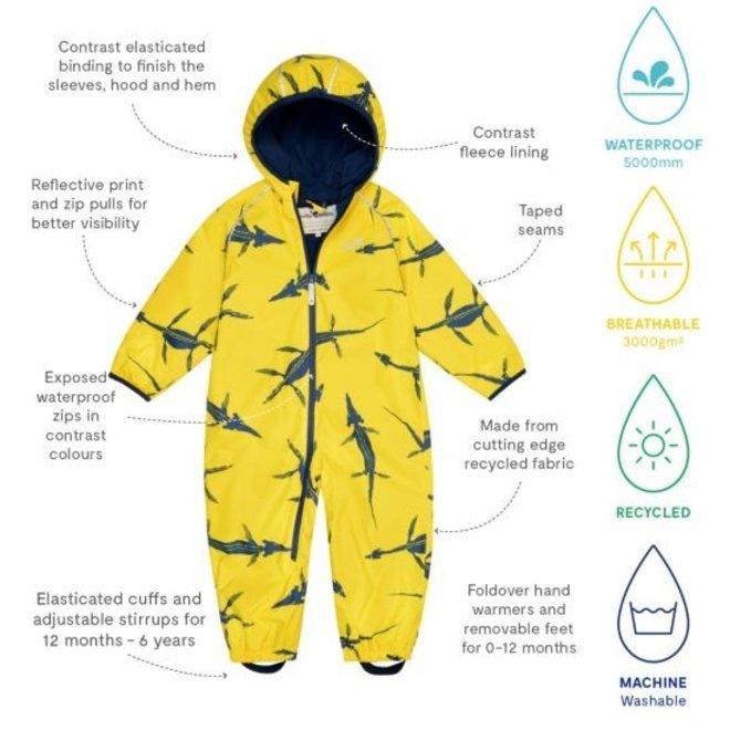 Sustainable rain suit ECOSPLASH, Fossil | 0-6 months