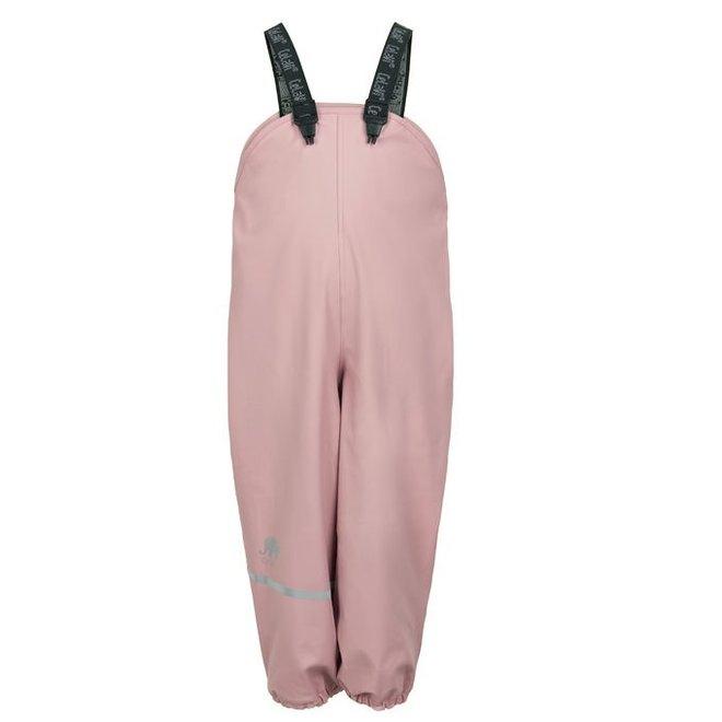 Fleece gevoerde regenbroek met bretels | pastel roze| 140
