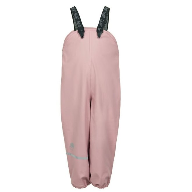 Fleece lined rain pants with suspenders pastel pink   80-140