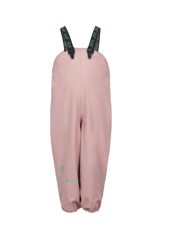 Fleece lined rain pants with suspenders pastel pink | 80-140