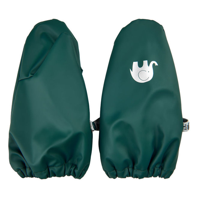 Warm mittens fleece lined and waterproof | 0-6 years | dark green