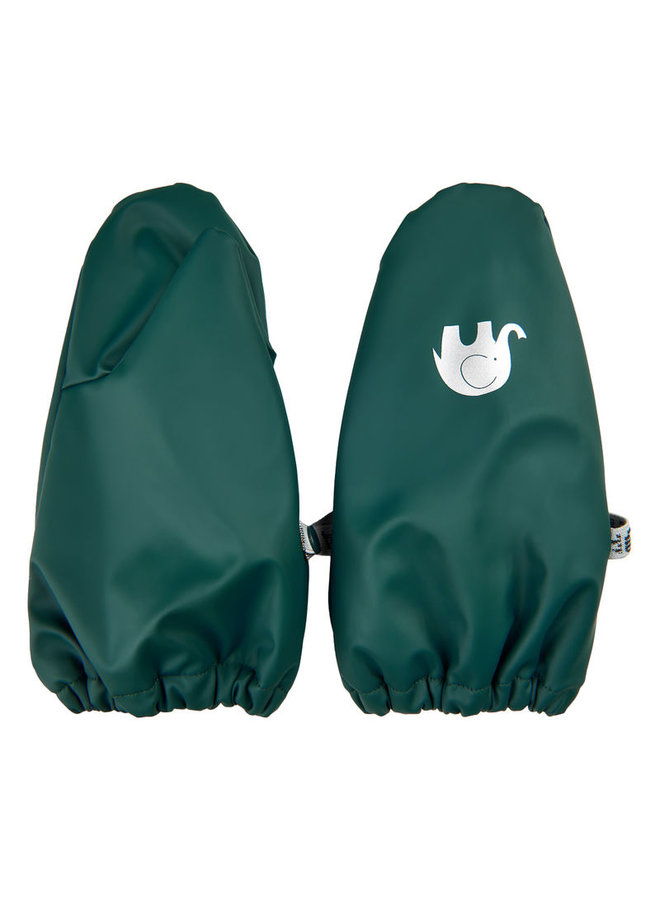 Warm mittens fleece lined and waterproof | 0-4 years | dark green