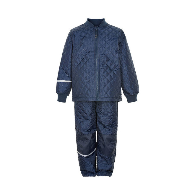 Thermo set of trousers and jacket, quilted dark blue