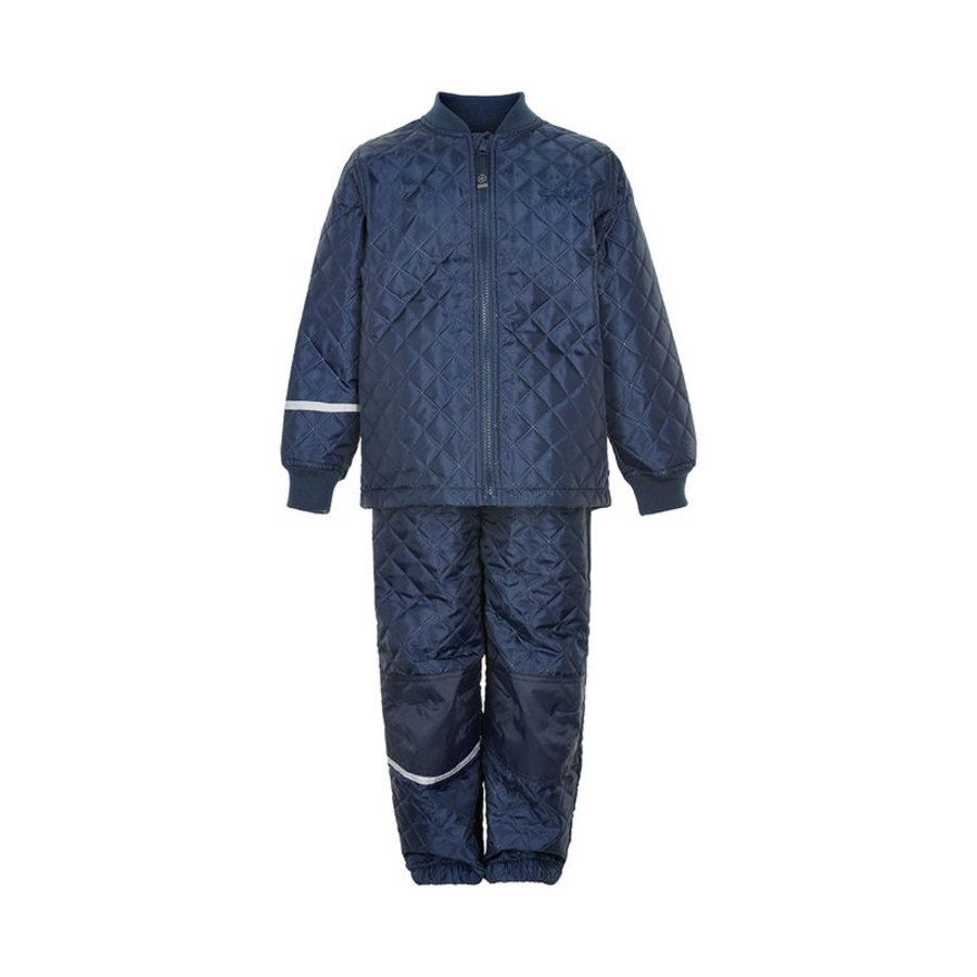 Thermo set of trousers and jacket, quilted dark blue-1