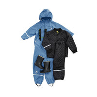 thumb-Thermo set broek en jack, gewatteerd donkerblauw-2