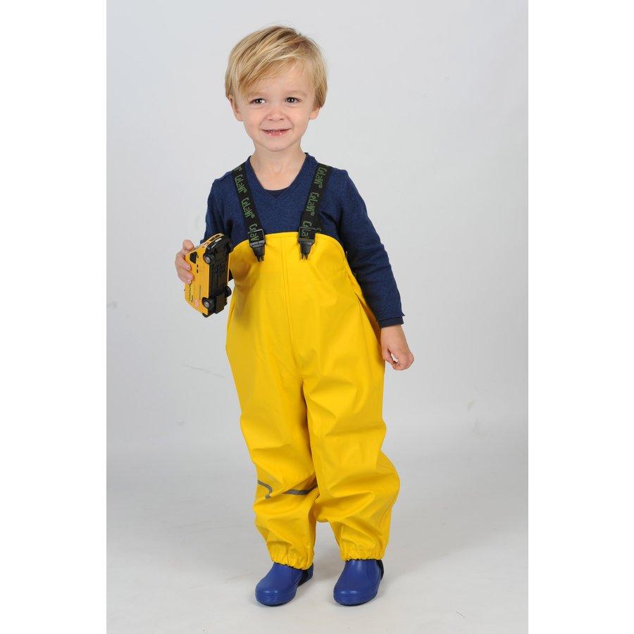 Gele kinderregenbroek met bretels   70-100-3