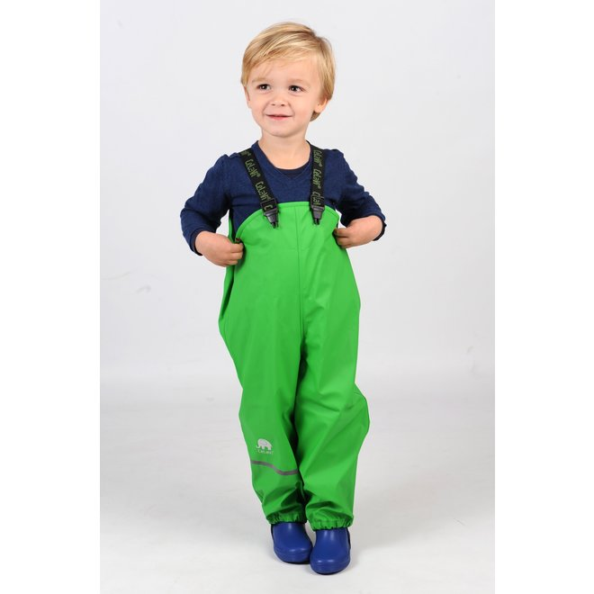 Lime green rain pants with suspenders | 70-100