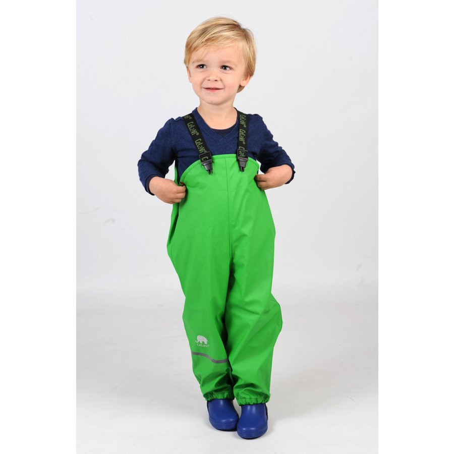 Lime green children's rain pants with suspenders size 70-100-3