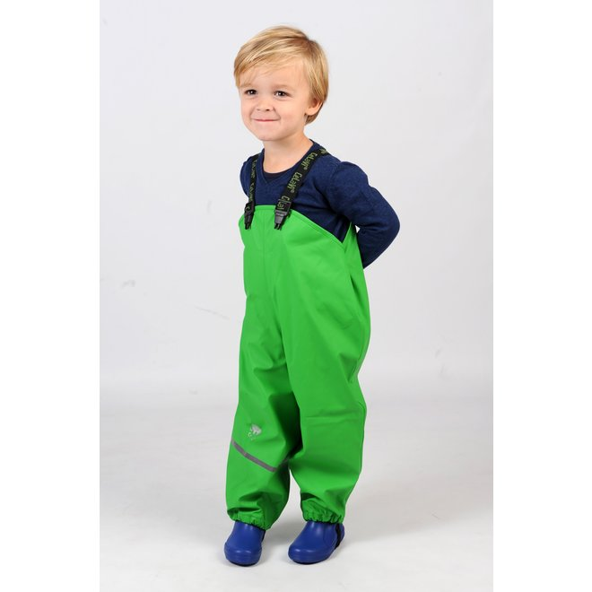 Lime green children's rain pants with suspenders | size 70-100