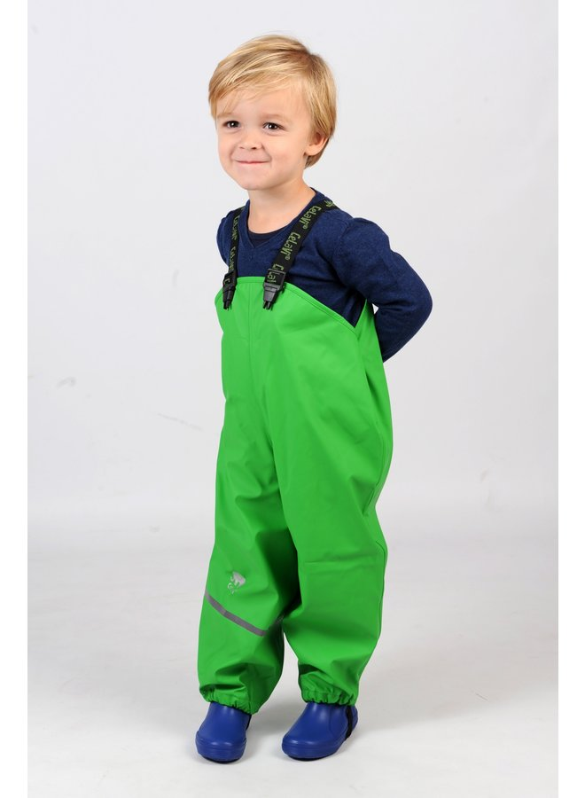 Lime green children's rain pants with suspenders size 70-100