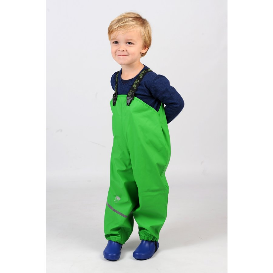 Lime green children's rain pants with suspenders size 70-100-4
