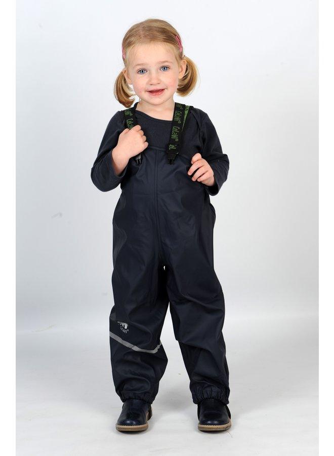 Navy kinderregenbroek met bretels | 70-100