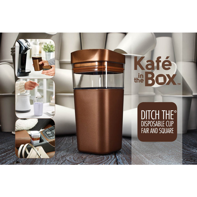 Kafé In The Box  zilvergrijze koffiebeker voor onderweg 473 ml