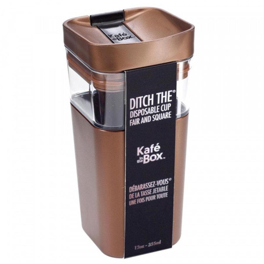 Kafé In The Box  brons bruine koffiebeker voor onderweg 355ml-2