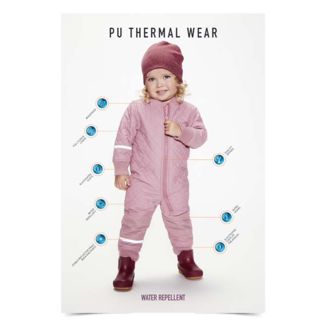 Waterafstotende thermo overall in roze  maat 80