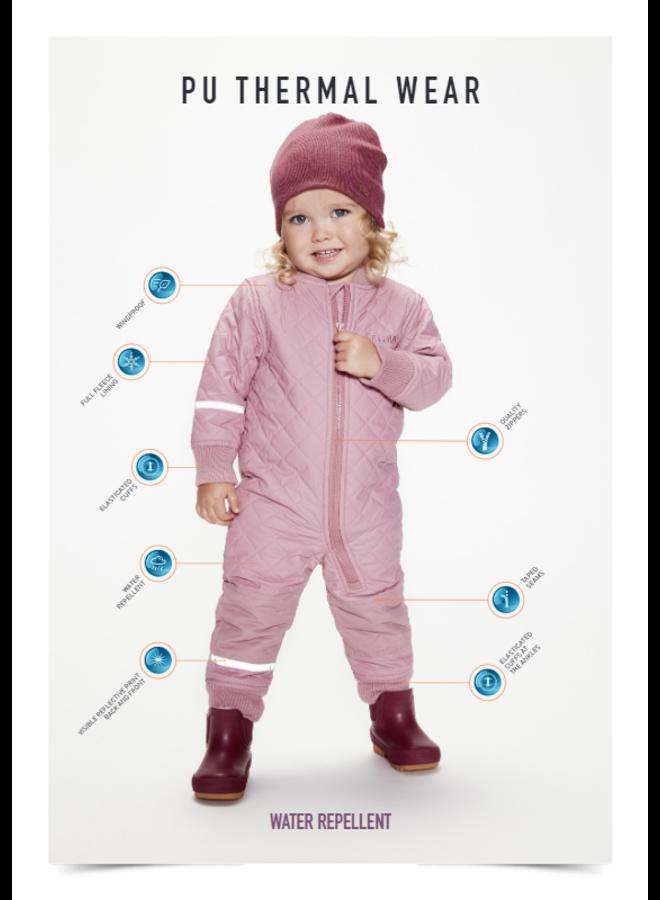 Waterdichte  thermo kinderoverall uit één stuk- roze