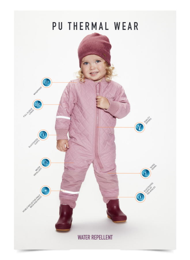 Waterafstotende thermo overall in roze| maat 80