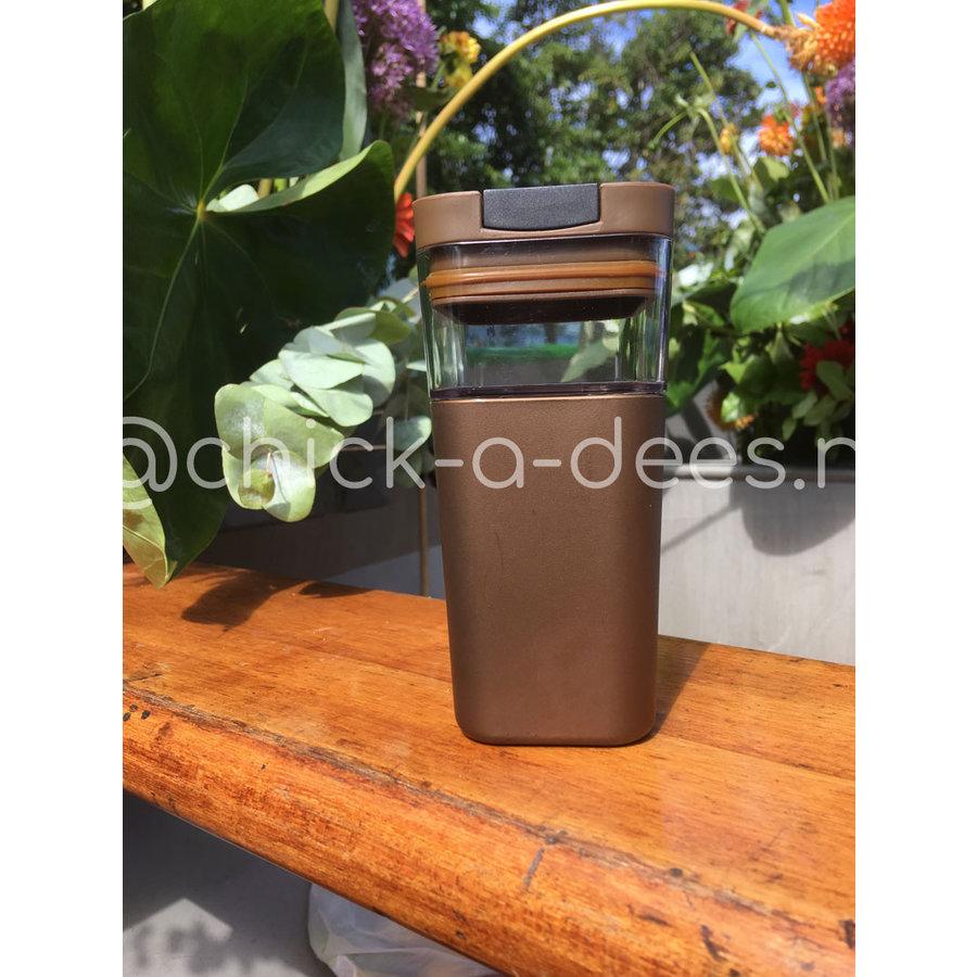 Kafé In The Box  brons bruine koffiebeker voor onderweg 355ml-1