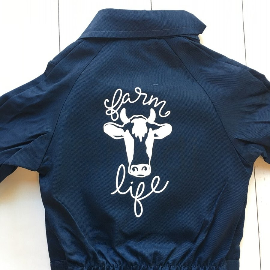 Children's overall | Farm Life bull and text-1