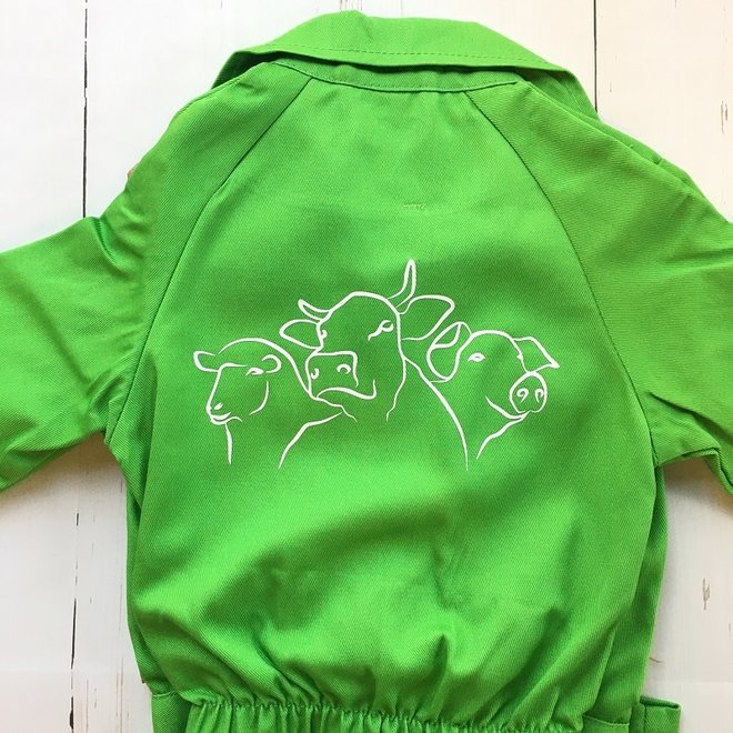 Children's overall with sheep, cow and pig