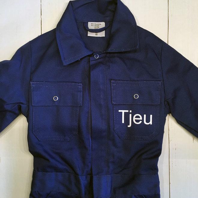 Donkerblauwe overall met naam of tekst bedrukking