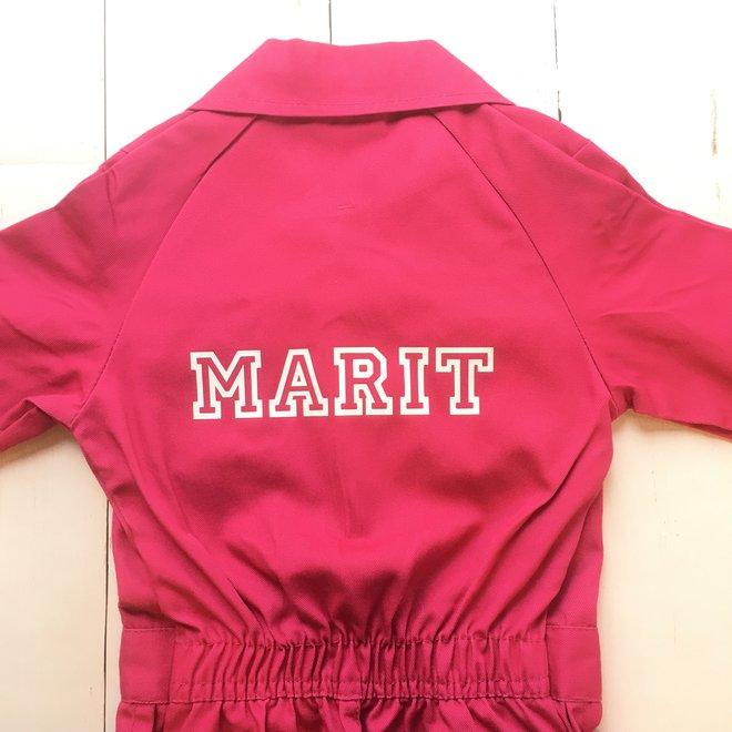 Printed children's overalls | fuchsia pink