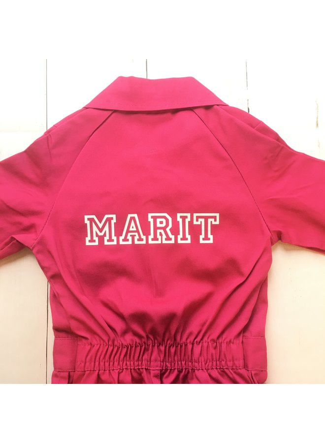 Printed fuchsia pink overalls with text or name