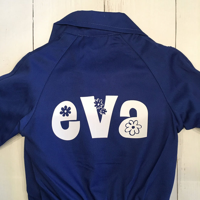 Printed blue overalls with text or name