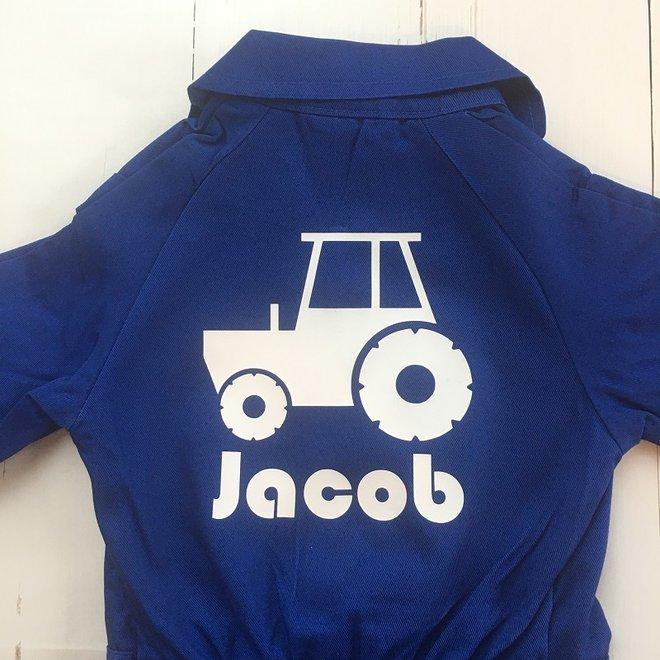 Bedrukte overall met tractor én naam