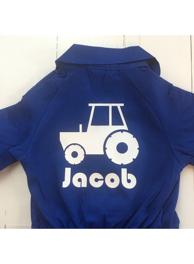 Printed overall with tractor and name