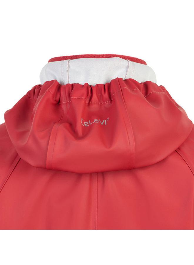 Kinder regenpak uit één stuk | oranje/rood| 70-110