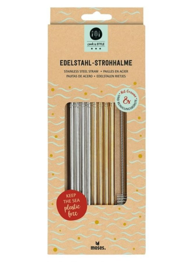 Stainless steel straw set of 8 pieces