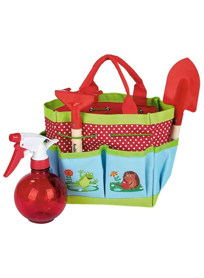Garden tools for children in a handy carrying case -