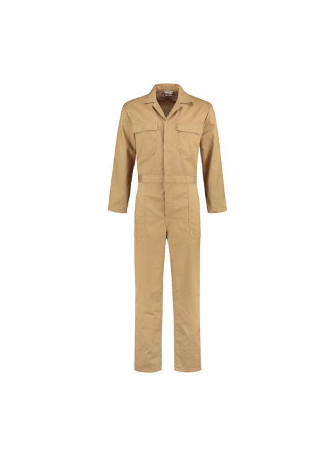 Zandkleurige, kaki overall voor dames en heren