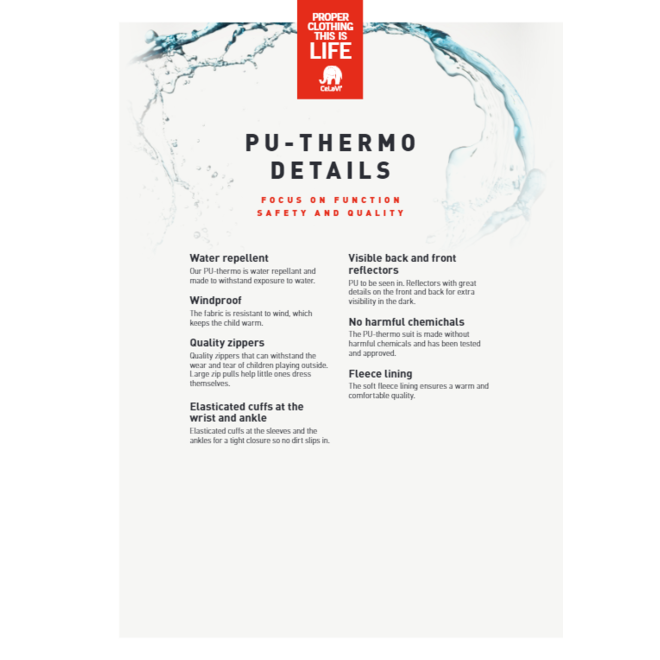 Thermo outer suit, jacket and pants water-repellent