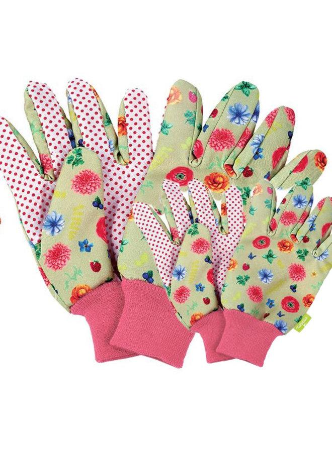 Set of children's and adult garden gloves