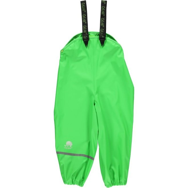 Sustainable children's rain pants lime green | braces 110-130