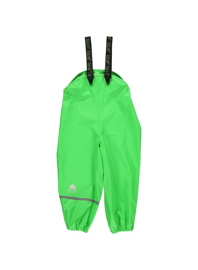 Lime green children's rain pants | braces
