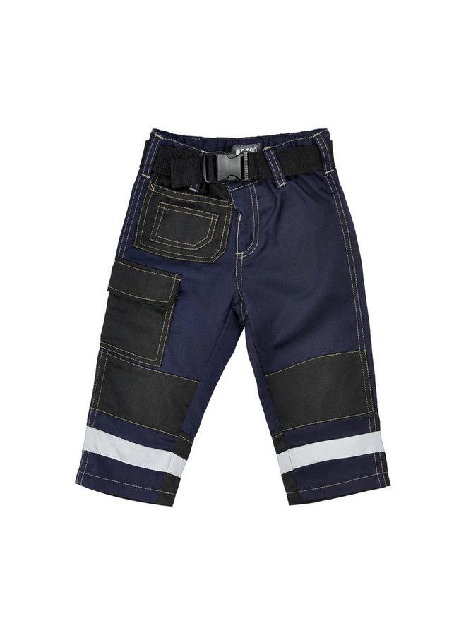 Navy blauwe kinder werkbroek met zakken en kniestukken
