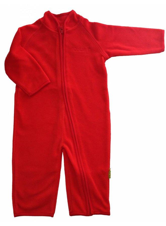 Fleece suit onesie, red jumpsuit