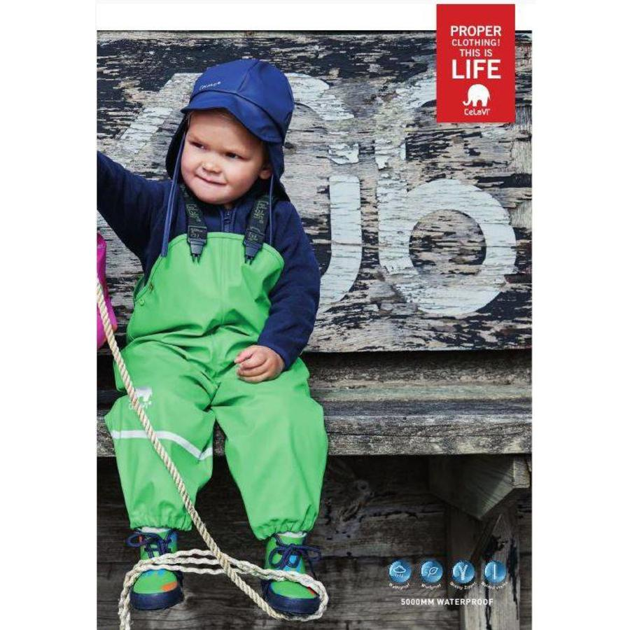 Lime green kids rain pants with suspenders | size 70-100-2
