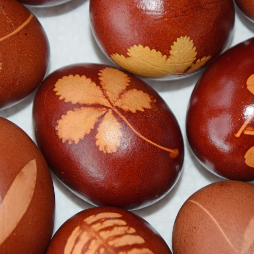 bladmotief op eieren