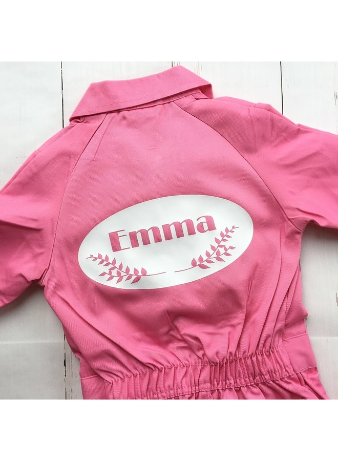 Children's overall printed with emblem with twigs and name