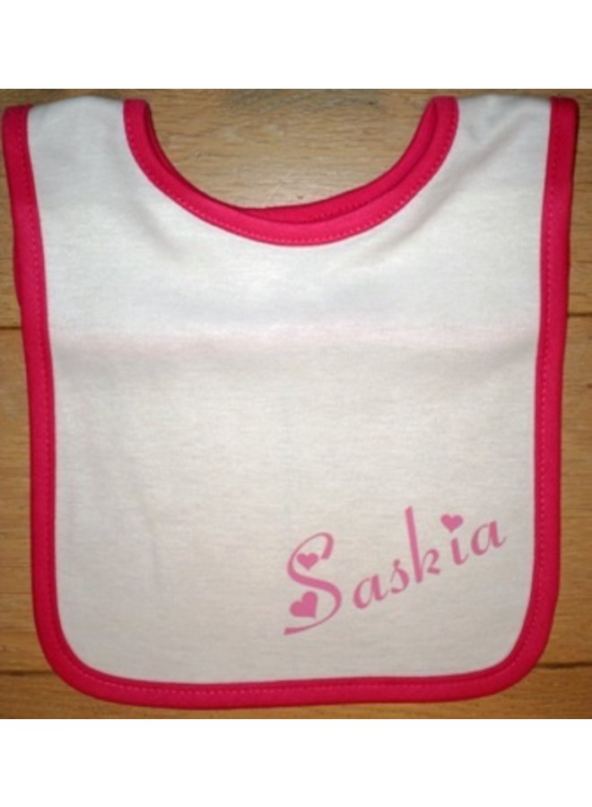 White bib with name and colored trim div. colors