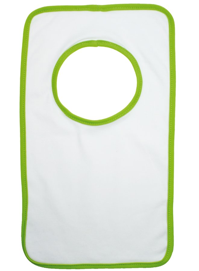 White bib with name and colored trim, various colors