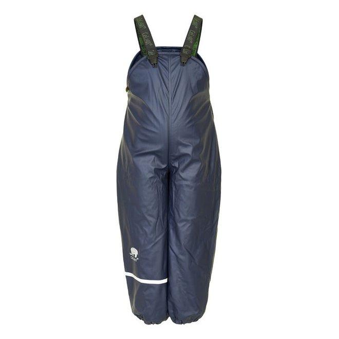 Fleece lined rain pants with braces navy blue   80-140