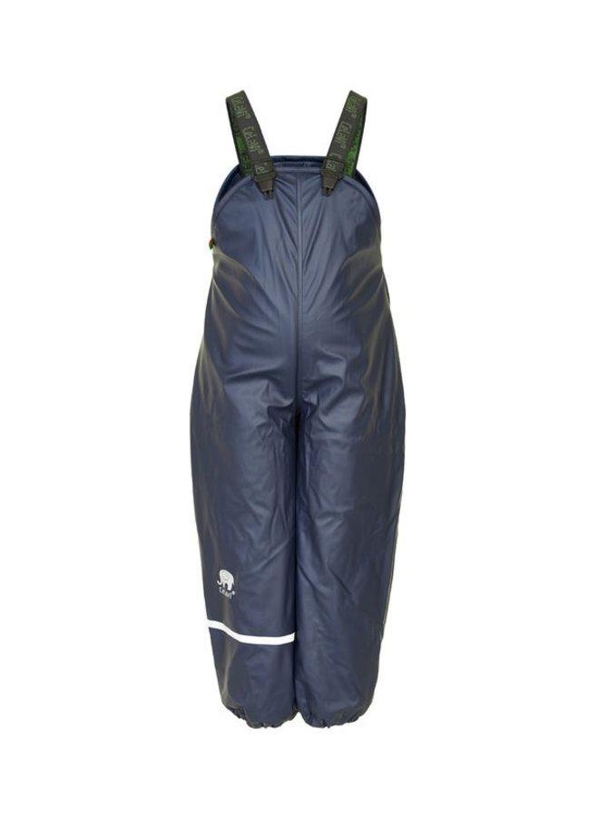 Fleece lined rain pants with braces navy blue | 80-140